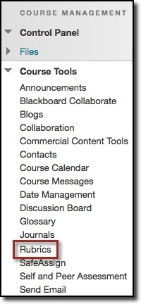 Course Tools, Rubrics option highlighted