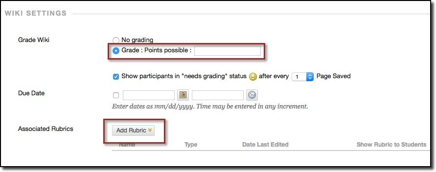 Wiki settings, add rubric button highlighted