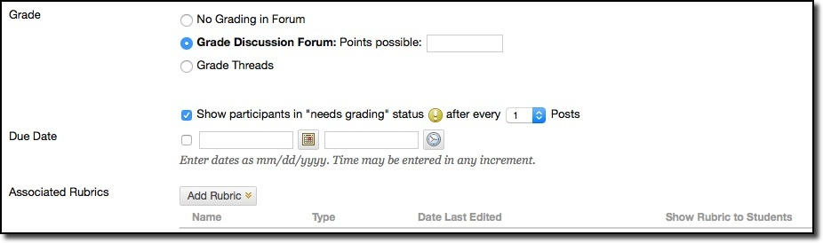 Forum settings grade and due date options
