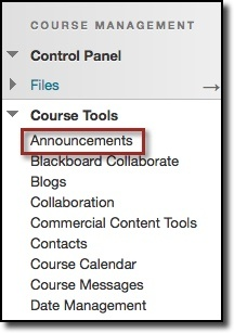 Course Tools dropdown menu, announcments option highlighted