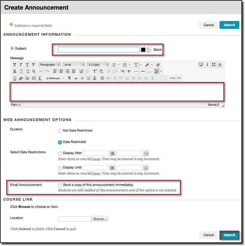 Create announcement content editor