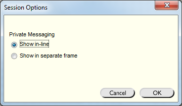 Example options window.