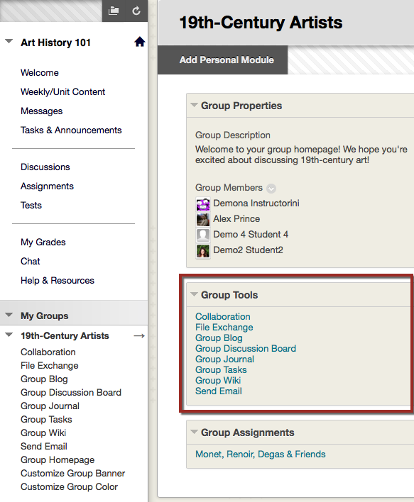 Highlighted group tools.