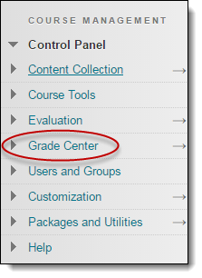 Grade center option highlighted