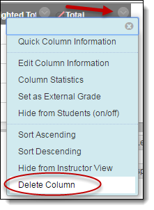 Dropdown menu with delete column option highlighted