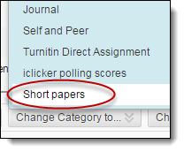 Short papers option in dropdown menu