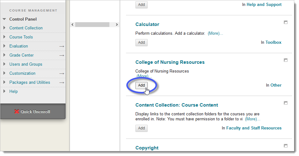 Add Module page with the Add button circled for College of Nursing Resources