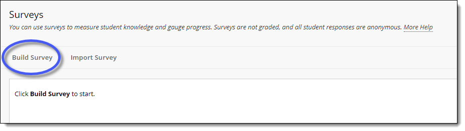 Blackboard Surveys page.  Build Survey button.