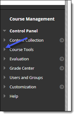 Blackboard Course Management menu. Course Tools option.