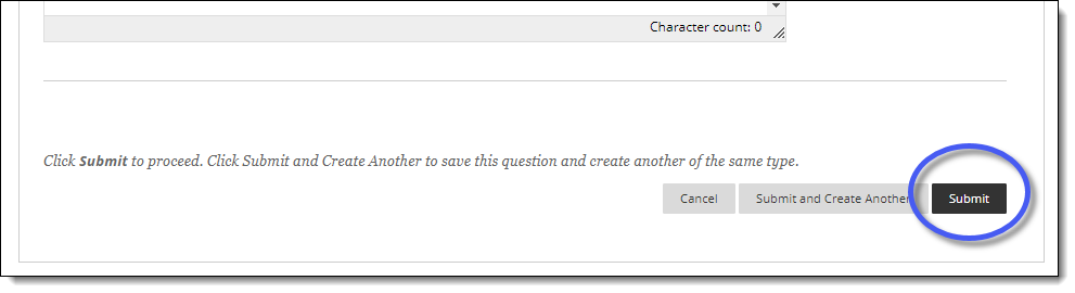 Blackboard page for adding a survey question.  Submit button.