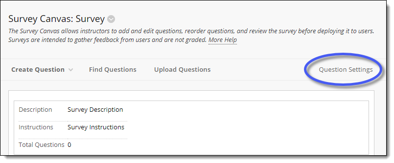 Blackboard Survey Canvas Page.  Question Settings button.