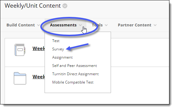 Blackboard Assessment menu.  Adding a survey to a content area.