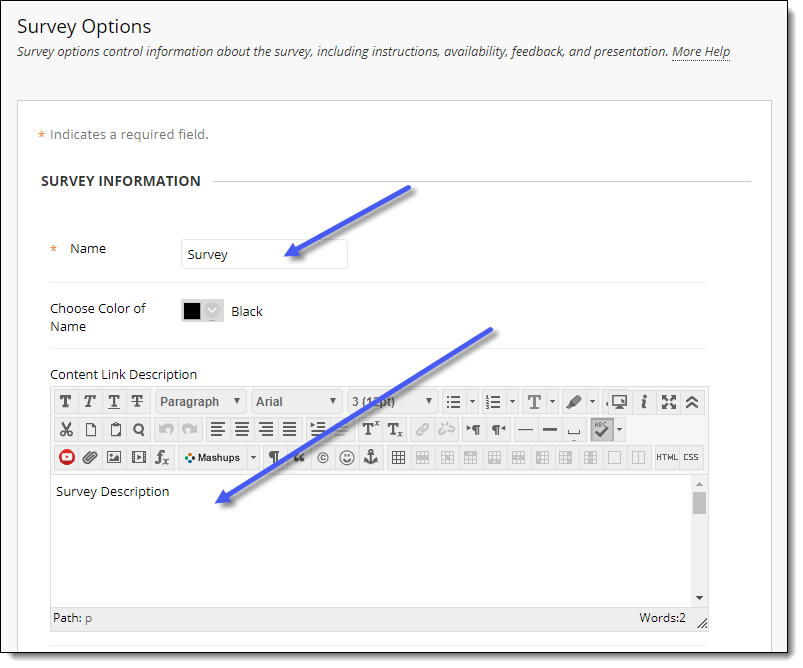 Blackboard editing survey options.  Name and Survey Description text boxes.
