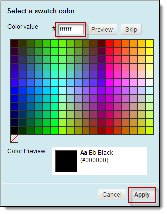 Change color value to ffffff and click apply