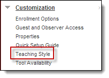 Teaching Style selected under Customization