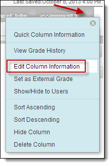Edit column information circled in dropdown menu