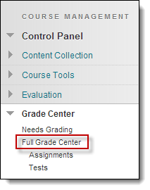 Grade center dropdown menu