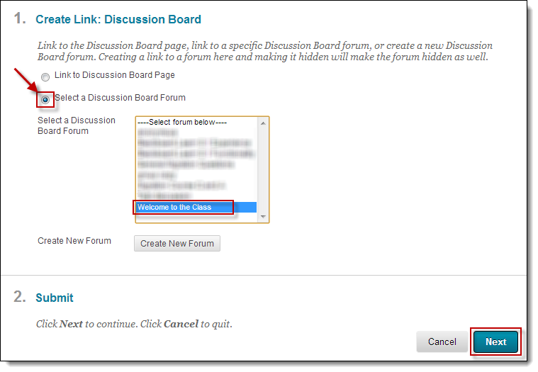 Discussion board selection menu