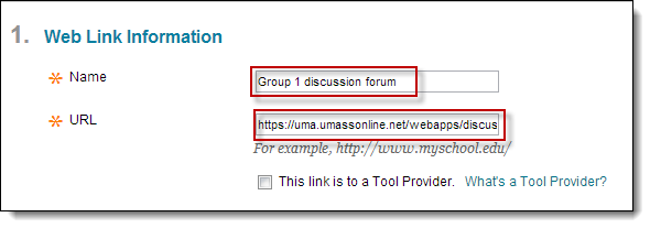 Create forum links for group discussions