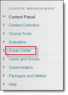 Grade center option circled
