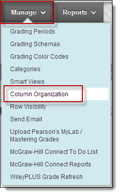 Manage dropdown menu, column organization circled