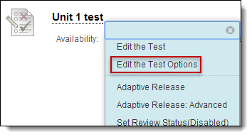 Test actionlink, edit the test options highlighted