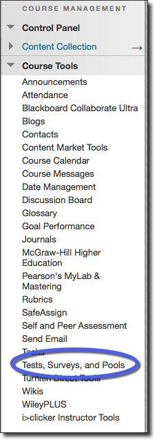 Course Tools, test, surveys, and pools option highlighted
