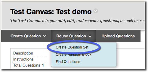 Test canvas, create question set option highlighted