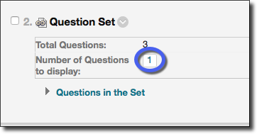 Question set number highlighted