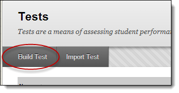 Build test button highlighted