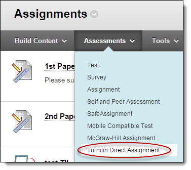 Turnitin Direct Assignment button under Assessments