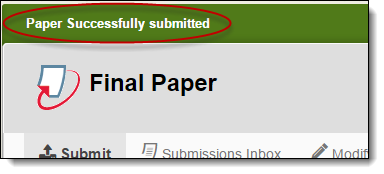 Paper Successfully Submitted