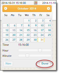 Calendar pop up to select desired date
