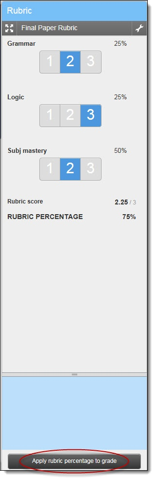 Grading with a rubric by selecting rubric scores