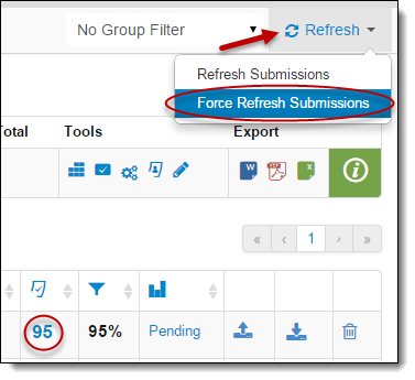 Force Refresh Submissions button under Refresh drop down menu