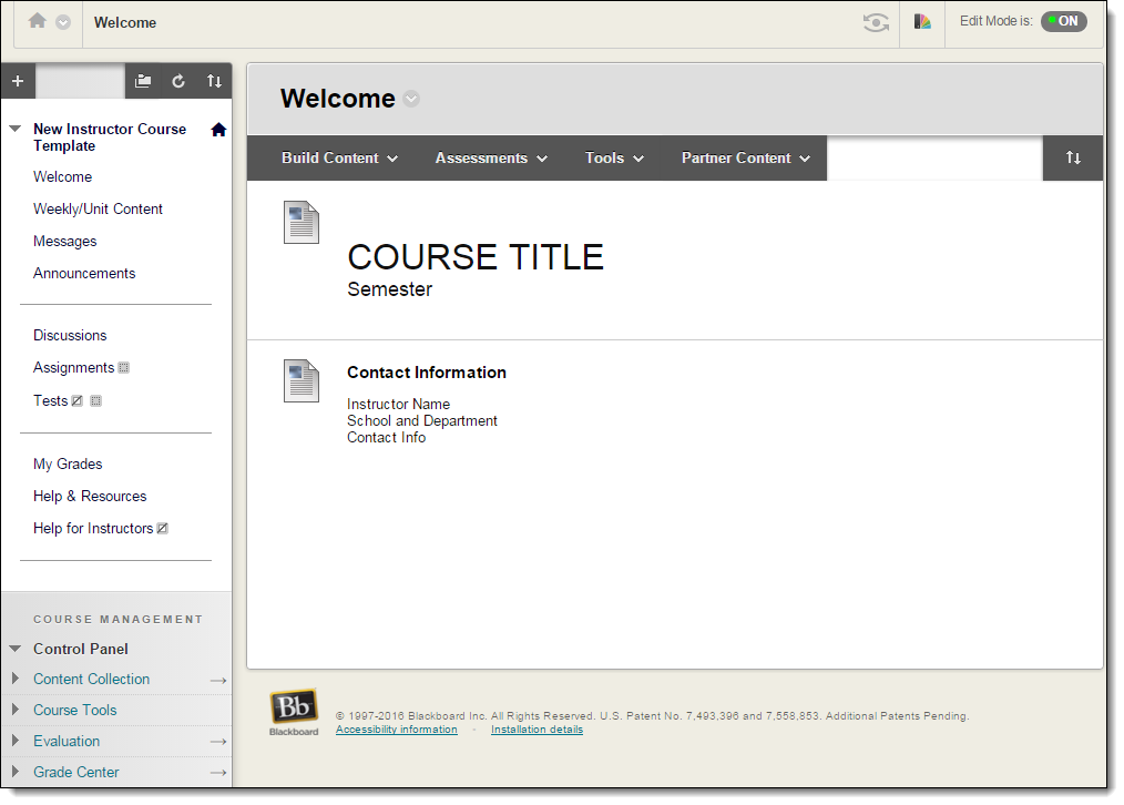 New Instructor Course Template Home Page on Blackboard