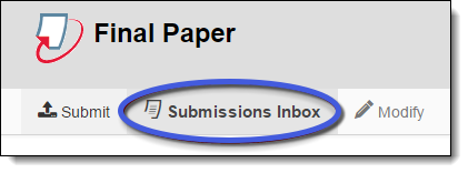 Submissions Inbox tab under Turnitin assignment