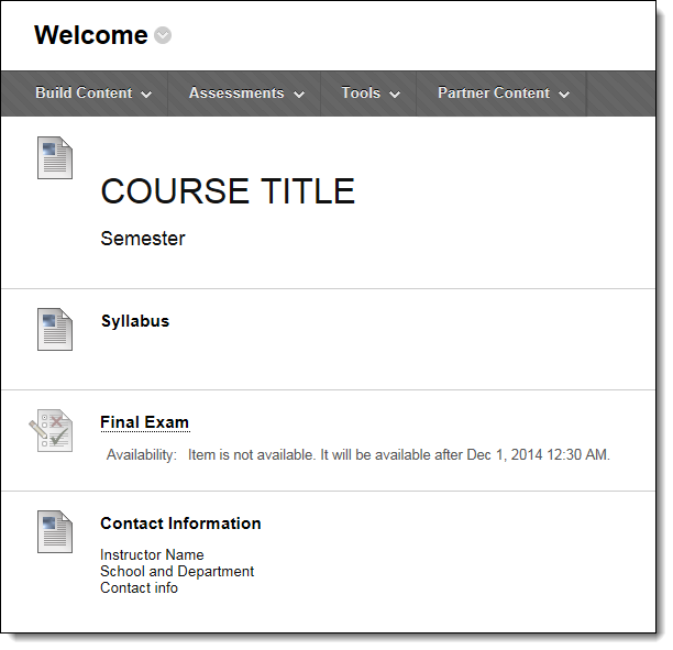 Instructor view of Welcome page