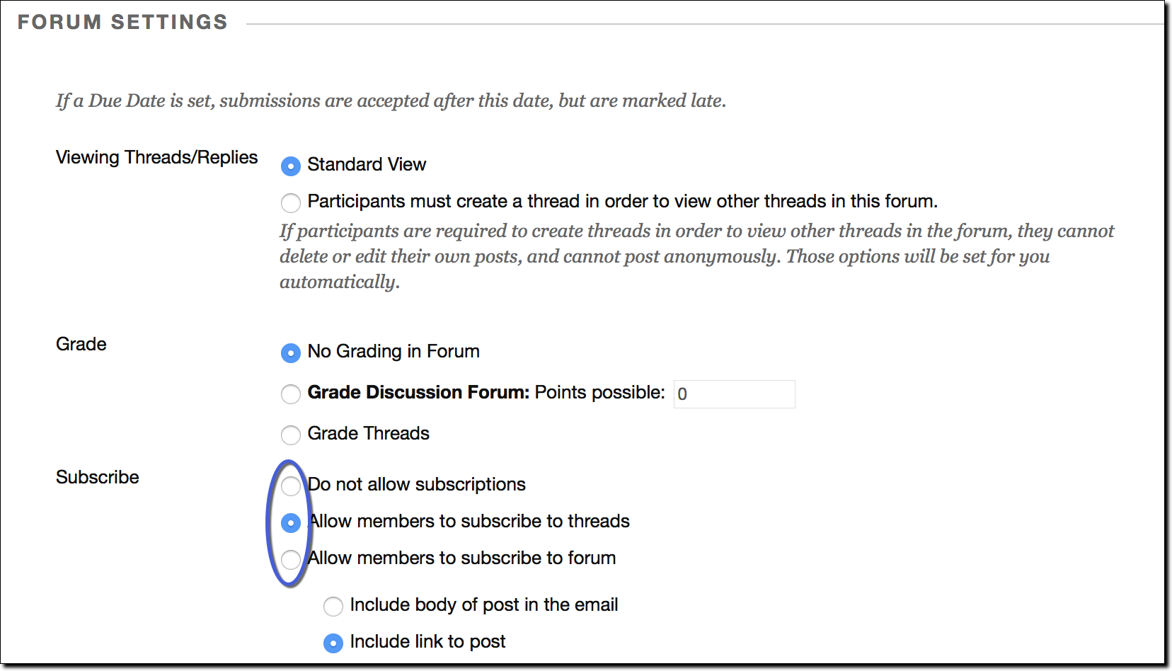 Subscription menu options highlighted