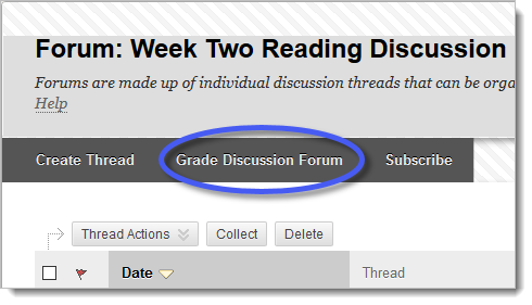 Forum menu option with grade discussion forum link circled