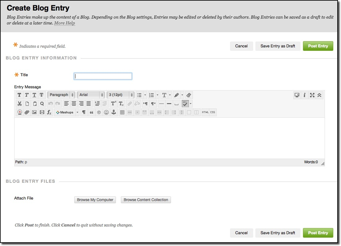 Create blog entry by inputting name and instructions