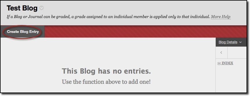 Create blog entry menu option