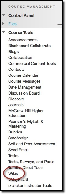 Course Tools dropdown menu, wikis option highlighted