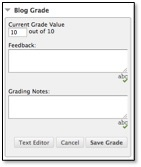 Blog grade feedback and grade notes boxes