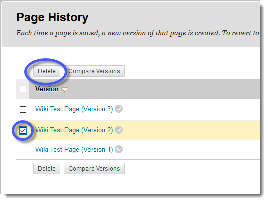 Wiki page history, including delete options