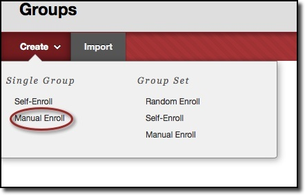 Single group options, manual enroll circled