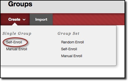 Create dropdown menu, self-enroll circled