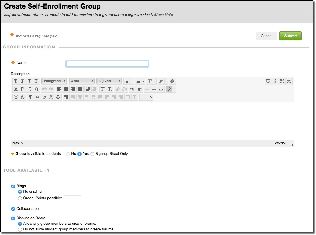 Create self-enrollment group data entry fields