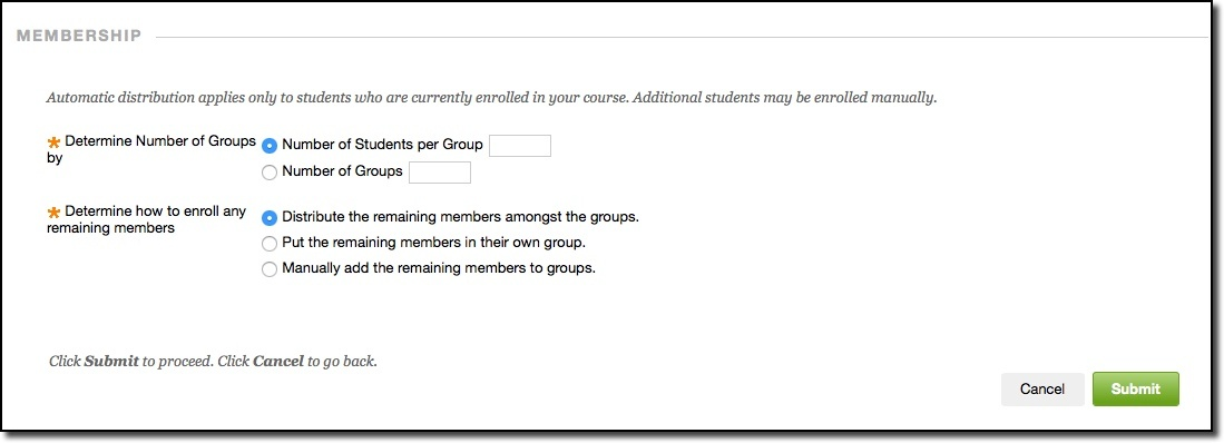 Membership section of page, and submit button