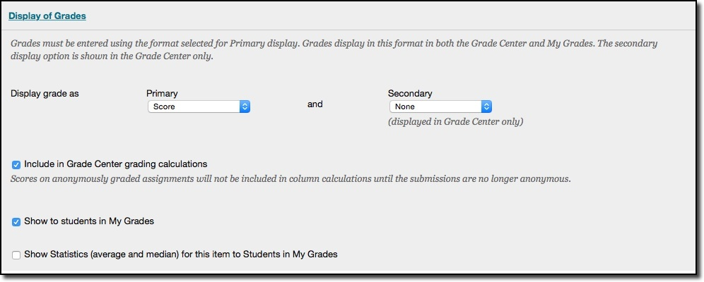 Display of grades options